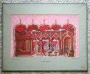 1950's Old Venetian Gothic Watercolor Painting by Volpone
