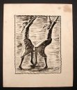 1950�s Black Haitian Dancing Women Watercolor Painting