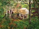 Rustic Vintage Oil Painting OLD HOUSE IN FOREST by Manike