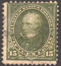 US Stamp 15c CLAY 1898 #284 Olive Green Used